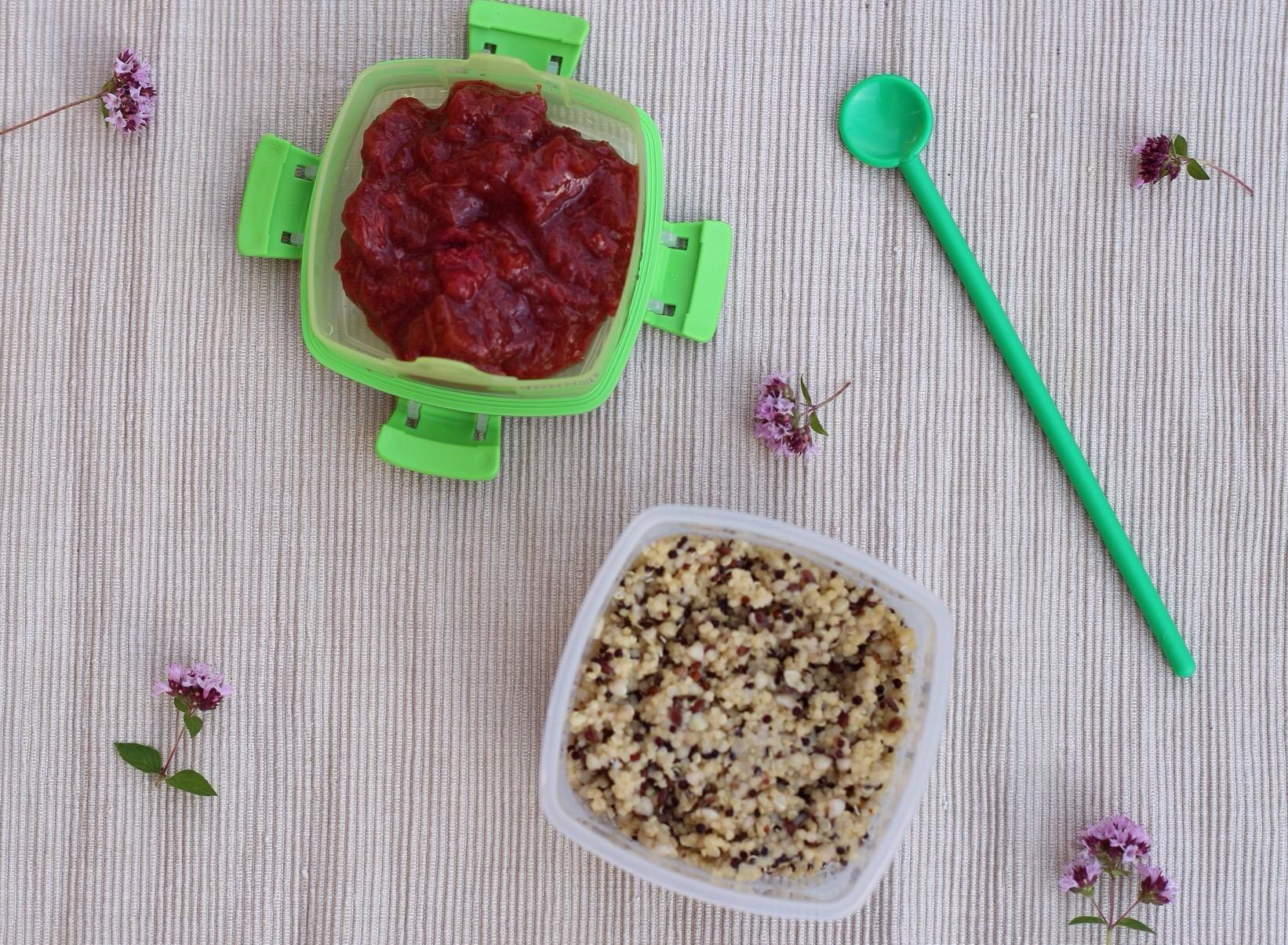 Madpakkeinspiraiton - sund madpakke: Hirse-quinoagrød ala Den flade Maves Grød fra Aurion med rabarberkompot. Glutenfri og low fodmap.